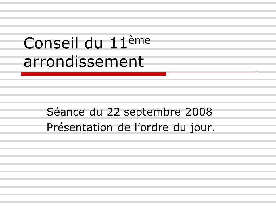 Conseil du 11 ème arrondissement Séance du 22 septembre 2008 Présentation de lordre du jour.