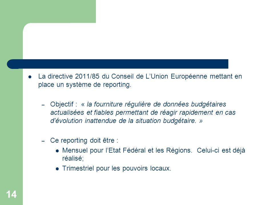 14 La directive 2011/85 du Conseil de LUnion Européenne mettant en place un système de reporting. – Objectif : « la fourniture régulière de données bu
