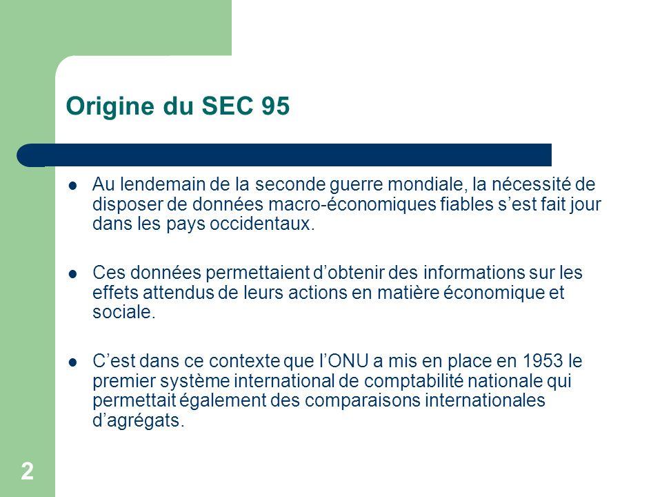 2 Origine du SEC 95 Au lendemain de la seconde guerre mondiale, la nécessité de disposer de données macro-économiques fiables sest fait jour dans les