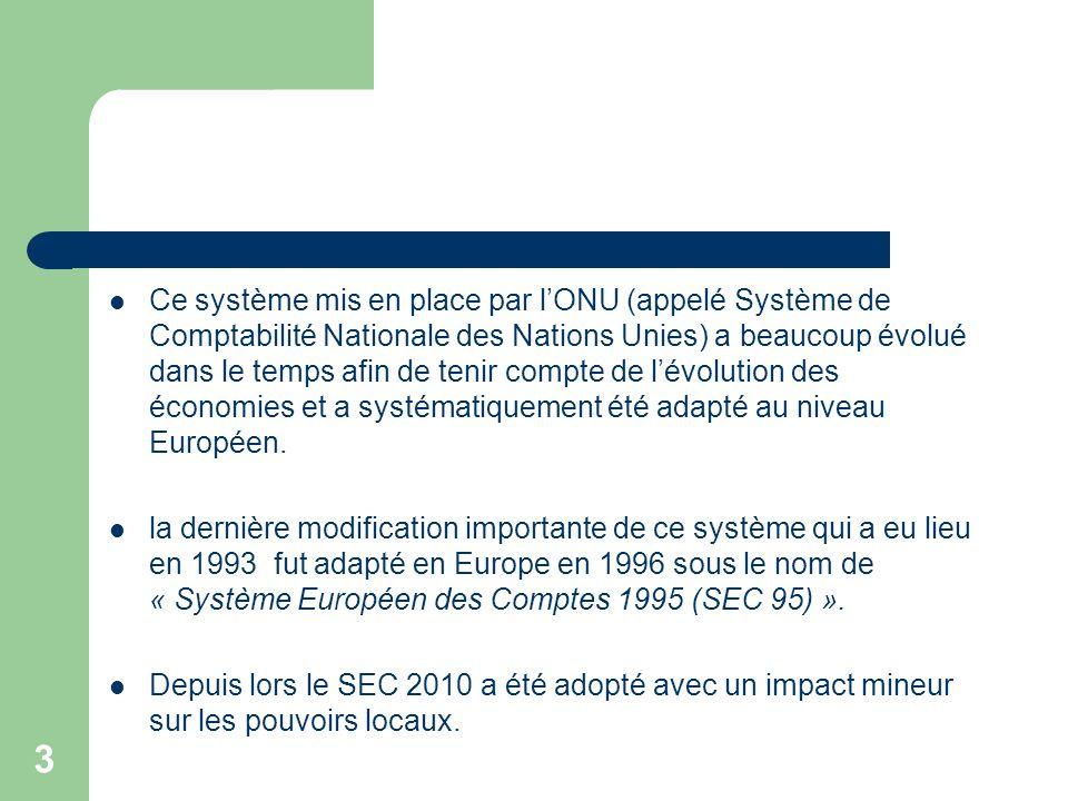 3 Ce système mis en place par lONU (appelé Système de Comptabilité Nationale des Nations Unies) a beaucoup évolué dans le temps afin de tenir compte d