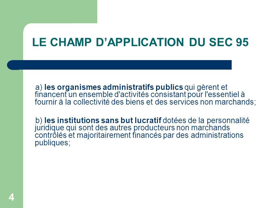 4 LE CHAMP DAPPLICATION DU SEC 95 a) les organismes administratifs publics qui gèrent et financent un ensemble d'activités consistant pour l'essentiel
