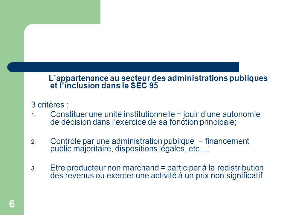 6 Lappartenance au secteur des administrations publiques et linclusion dans le SEC 95 3 critères : 1. Constituer une unité institutionnelle = jouir du