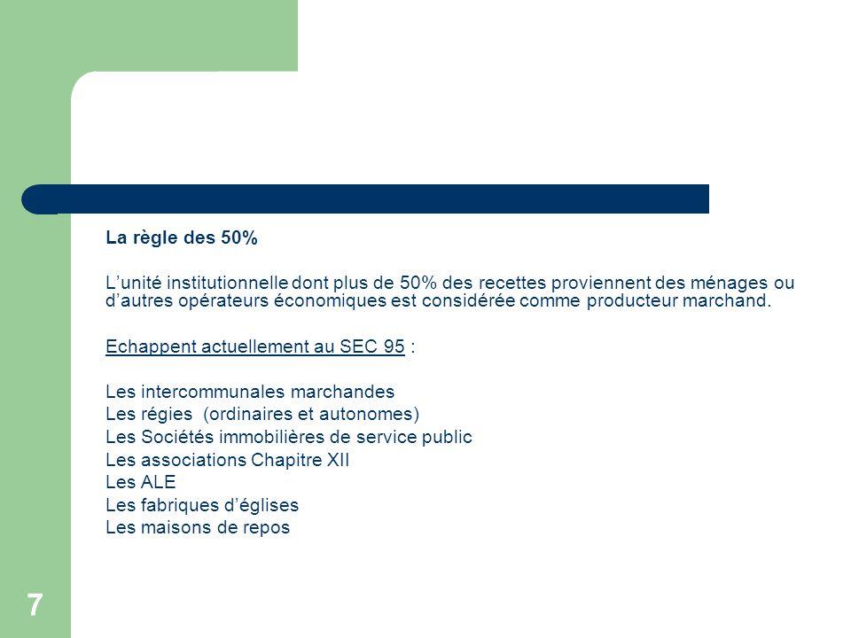 7 La règle des 50% Lunité institutionnelle dont plus de 50% des recettes proviennent des ménages ou dautres opérateurs économiques est considérée comm
