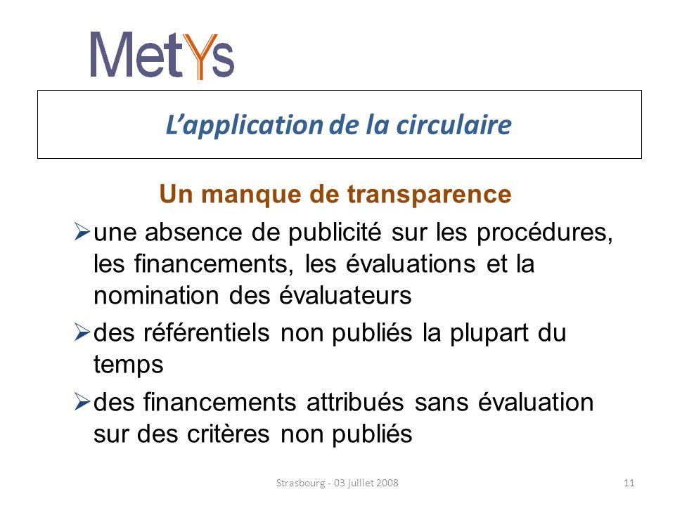 Lapplication de la circulaire Un manque de transparence une absence de publicité sur les procédures, les financements, les évaluations et la nomination des évaluateurs des référentiels non publiés la plupart du temps des financements attribués sans évaluation sur des critères non publiés Strasbourg - 03 juillet 200811