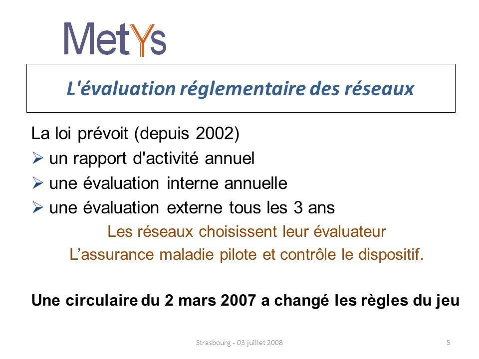 Les innovations de la circulaire de mars 2007 Un nouveau commanditaire : lassurance maladie L e financeur (l assurance maladie) est désormais en charge de l évaluation Une méthode, un calendrier 3 ans d évaluation interne 3 mois d évaluation externe à léchéance des 3 ans : juillet, aout, septembre Strasbourg - 03 juillet 20086