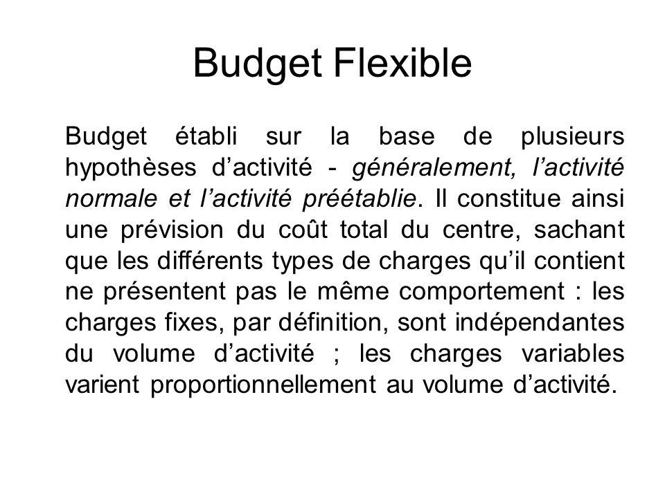 Budget Flexible Budget établi sur la base de plusieurs hypothèses dactivité - généralement, lactivité normale et lactivité préétablie. Il constitue ai