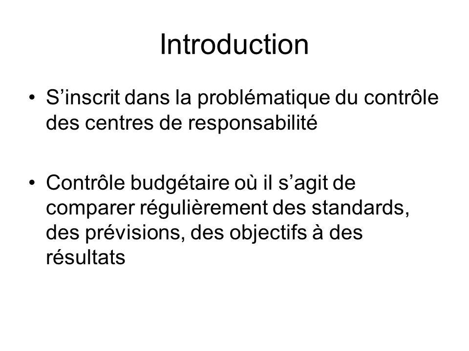 Introduction Sinscrit dans la problématique du contrôle des centres de responsabilité Contrôle budgétaire où il sagit de comparer régulièrement des st