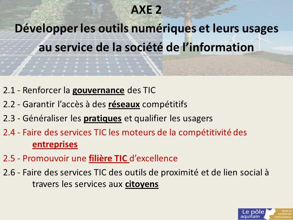 AXE 2 Développer les outils numériques et leurs usages au service de la société de linformation 2.1 - Renforcer la gouvernance des TIC 2.2 - Garantir