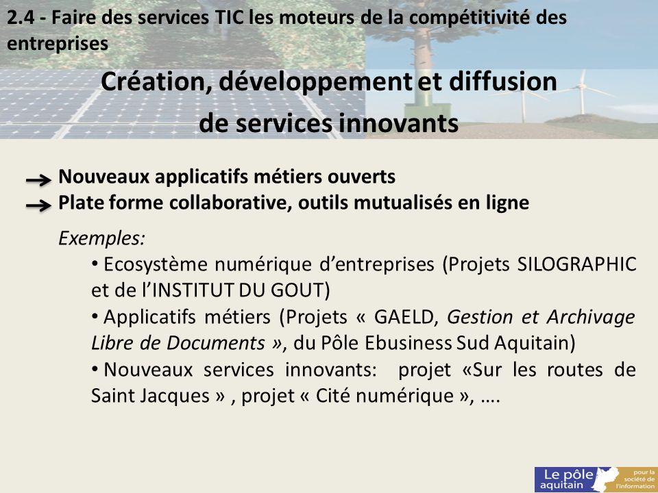 2.4 - Faire des services TIC les moteurs de la compétitivité des entreprises Création, développement et diffusion de services innovants Nouveaux appli