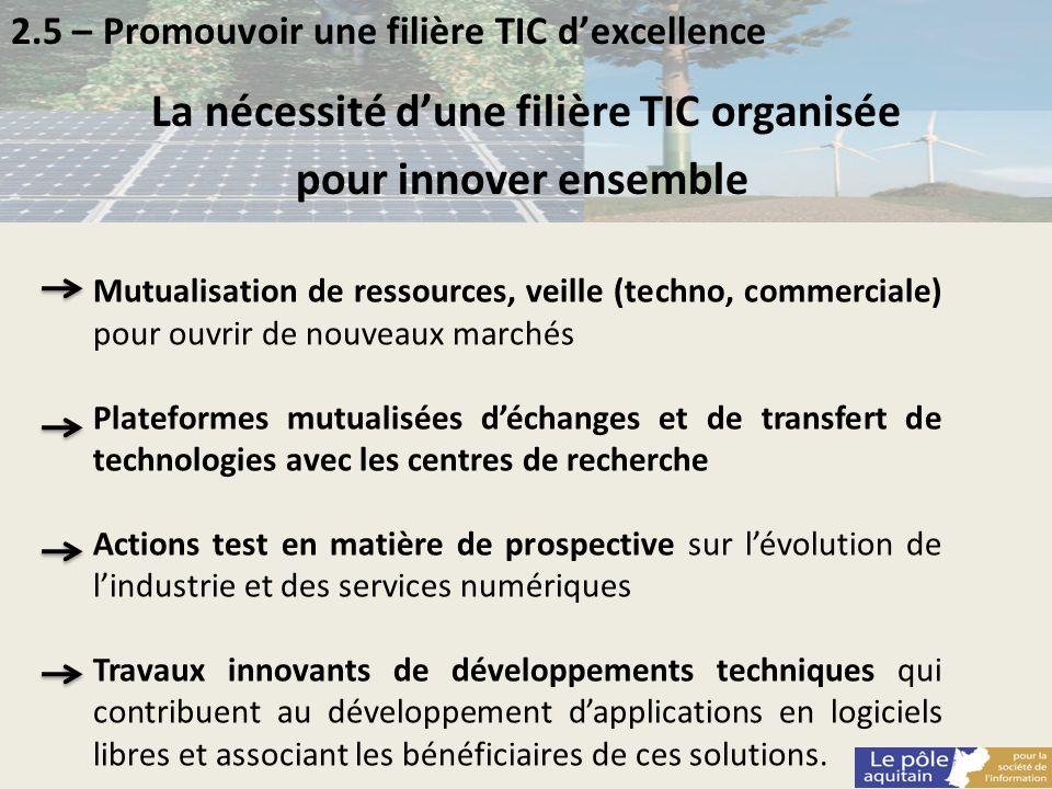 2.5 – Promouvoir une filière TIC dexcellence La nécessité dune filière TIC organisée pour innover ensemble Mutualisation de ressources, veille (techno