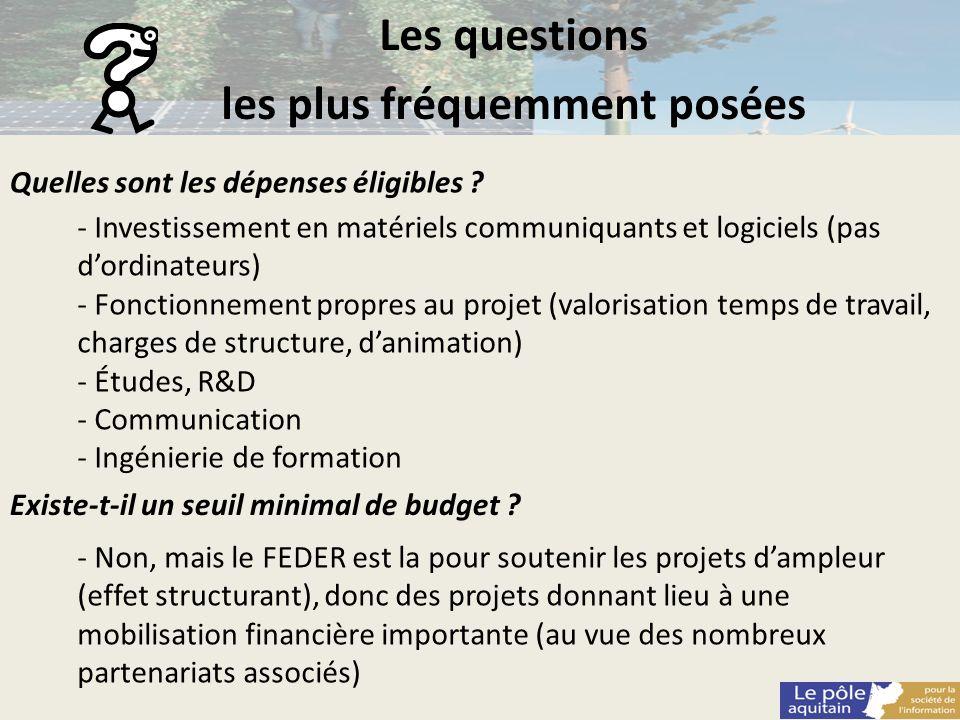 Les questions les plus fréquemment posées Quelles sont les dépenses éligibles ? - Investissement en matériels communiquants et logiciels (pas dordinat