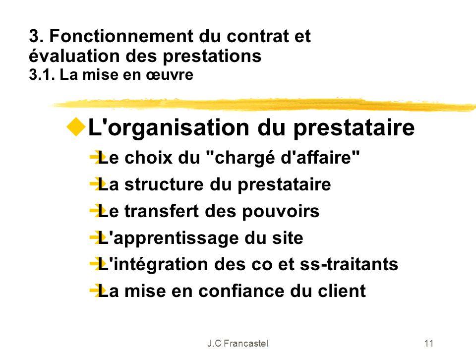 J.C Francastel11 L'organisation du prestataire Le choix du