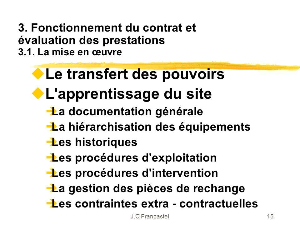 J.C Francastel15 Le transfert des pouvoirs L'apprentissage du site La documentation générale La hiérarchisation des équipements Les historiques Les pr