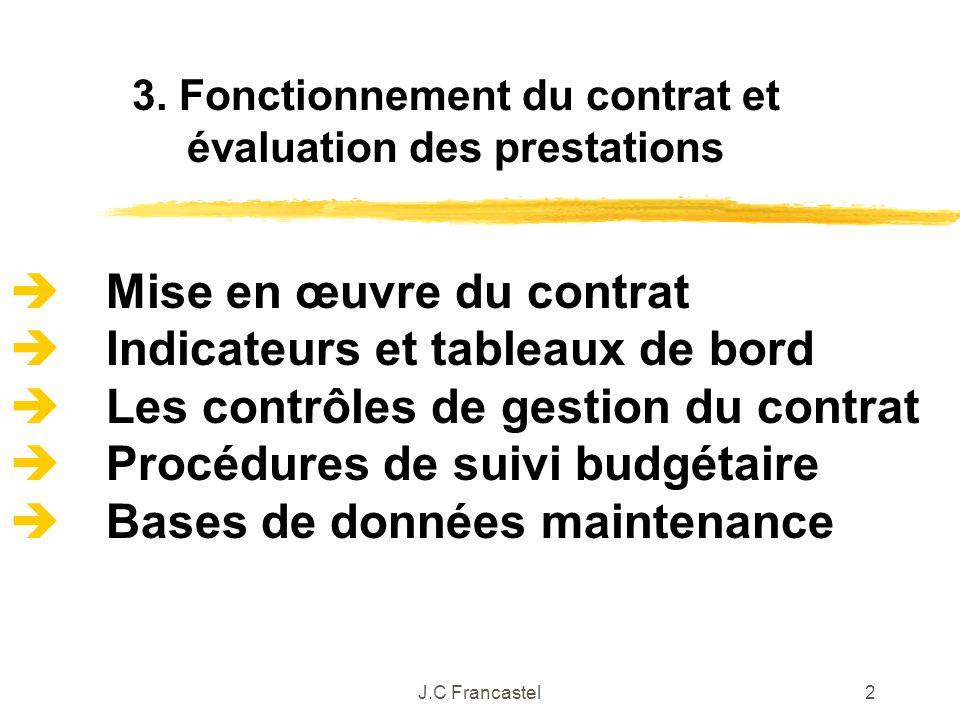J.C Francastel2 Mise en œuvre du contrat Indicateurs et tableaux de bord Les contrôles de gestion du contrat Procédures de suivi budgétaire Bases de d