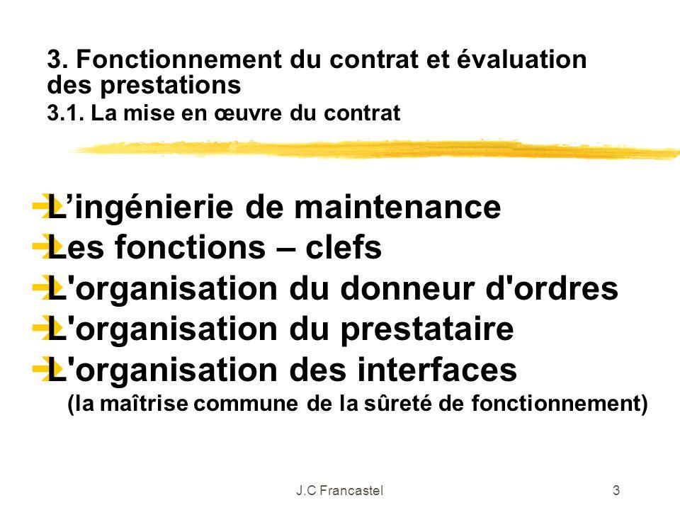 J.C Francastel3 Lingénierie de maintenance Les fonctions – clefs L'organisation du donneur d'ordres L'organisation du prestataire L'organisation des i