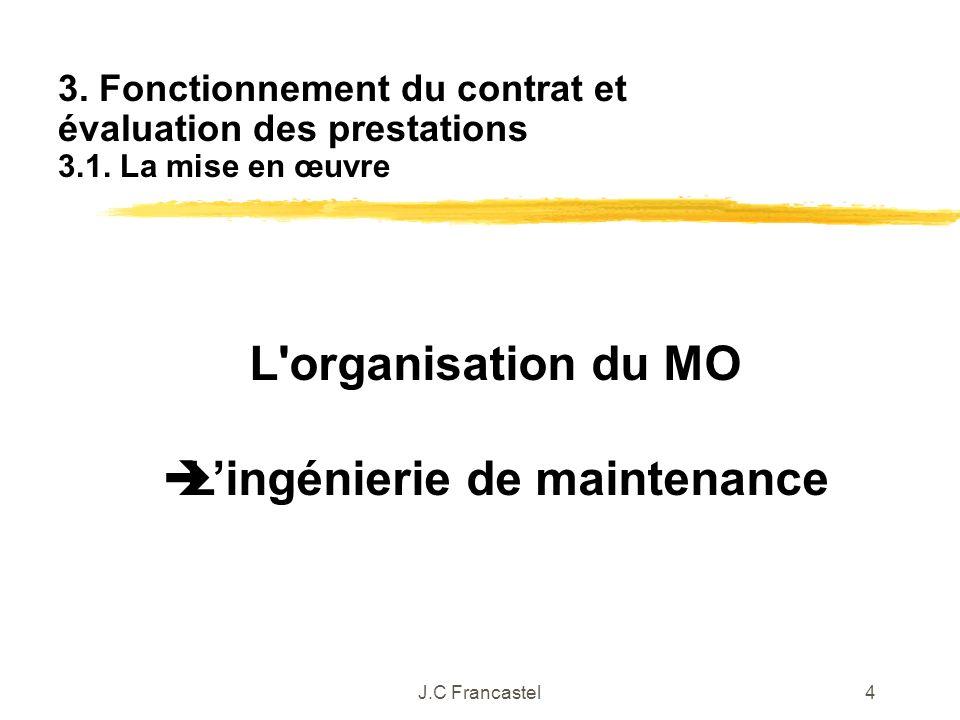J.C Francastel4 L'organisation du MO Lingénierie de maintenance 3. Fonctionnement du contrat et évaluation des prestations 3.1. La mise en œuvre