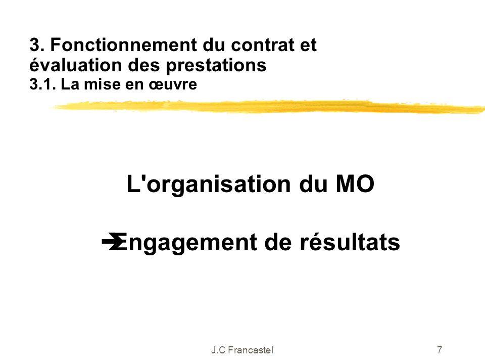 J.C Francastel7 L'organisation du MO Engagement de résultats 3. Fonctionnement du contrat et évaluation des prestations 3.1. La mise en œuvre