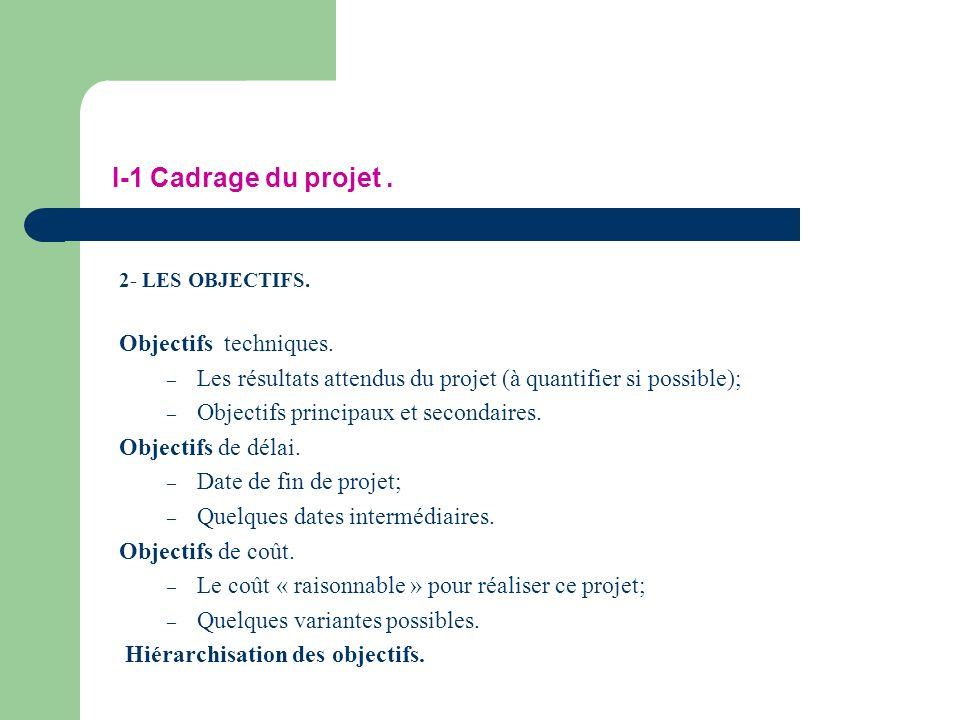 2- LES OBJECTIFS. Objectifs techniques. – Les résultats attendus du projet (à quantifier si possible); – Objectifs principaux et secondaires. Objectif