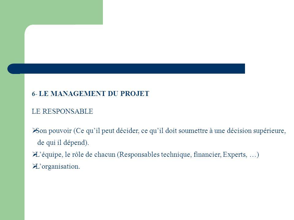 6- LE MANAGEMENT DU PROJET LE RESPONSABLE Son pouvoir (Ce quil peut décider, ce quil doit soumettre à une décision supérieure, de qui il dépend). Léqu
