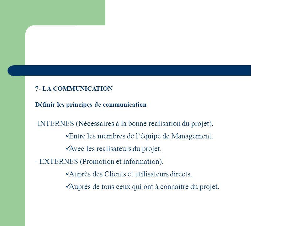 7- LA COMMUNICATION Définir les principes de communication -INTERNES (Nécessaires à la bonne réalisation du projet). Entre les membres de léquipe de M