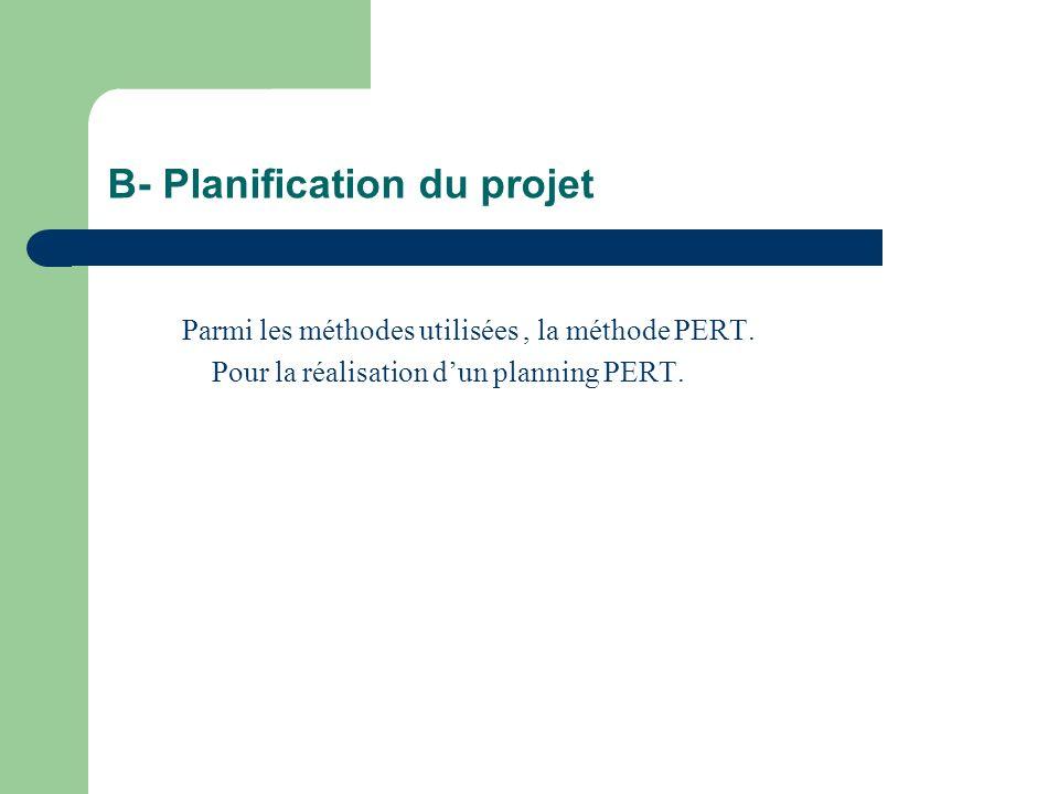 B- Planification du projet Parmi les méthodes utilisées, la méthode PERT. Pour la réalisation dun planning PERT.