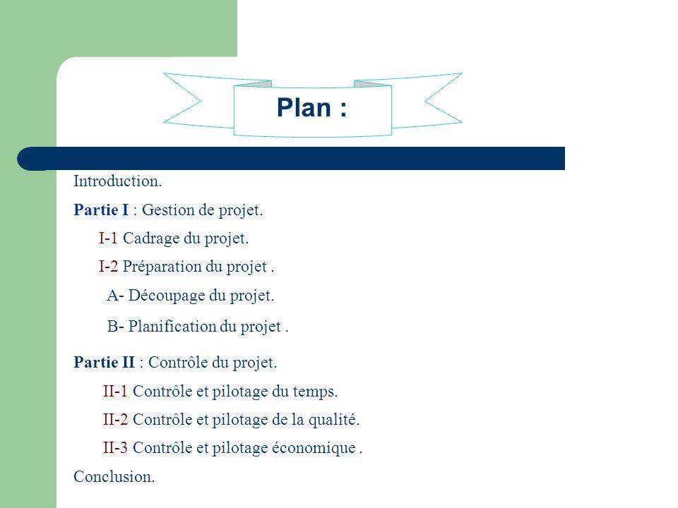 Plan : Introduction. Partie I : Gestion de projet. I-1 Cadrage du projet. I-2 Préparation du projet. A- Découpage du projet. B- Planification du proje