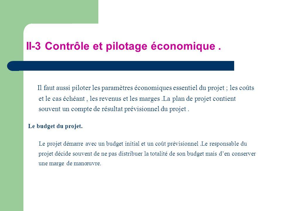 II-3 Contrôle et pilotage économique. Il faut aussi piloter les paramètres économiques essentiel du projet ; les coûts et le cas échéant, les revenus
