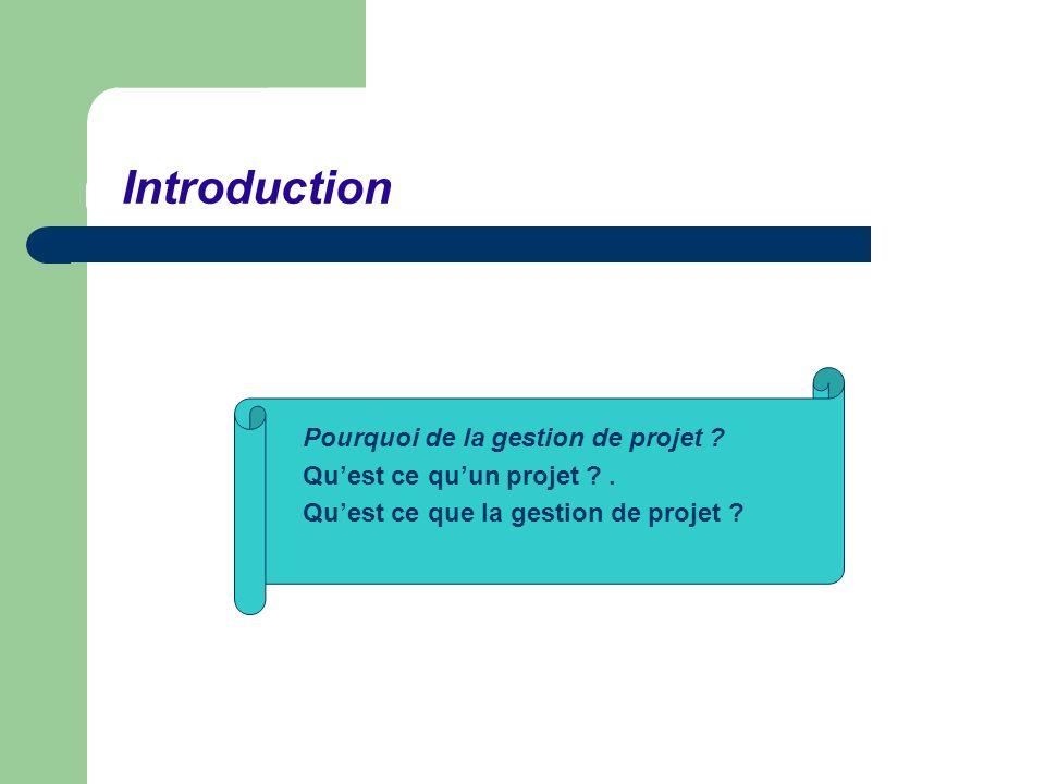 Introduction Pourquoi de la gestion de projet ? Quest ce quun projet ?. Quest ce que la gestion de projet ?