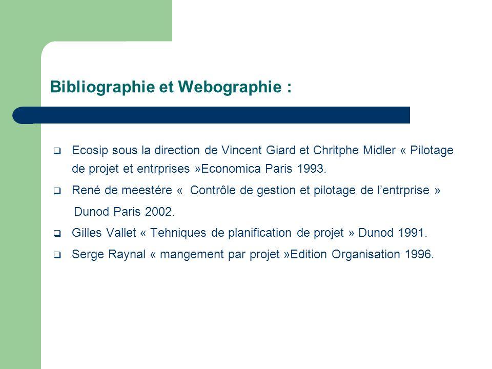 Ecosip sous la direction de Vincent Giard et Chritphe Midler « Pilotage de projet et entrprises »Economica Paris 1993. René de meestére « Contrôle de