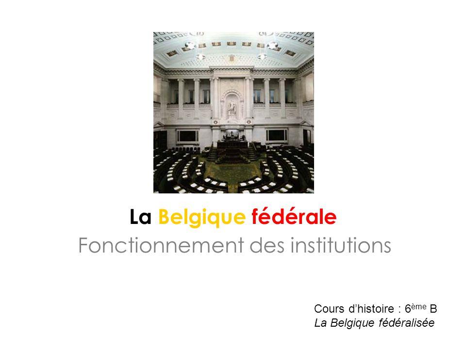 La Belgique fédérale Fonctionnement des institutions Cours dhistoire : 6 ème B La Belgique fédéralisée
