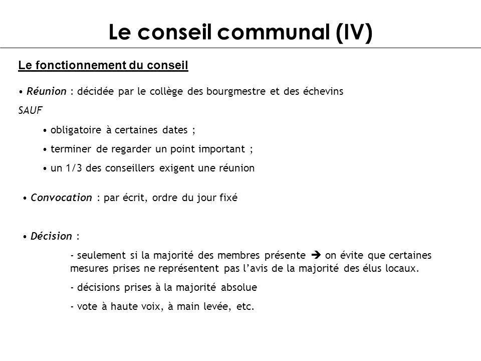 Le conseil communal (IV) Le fonctionnement du conseil Réunion : décidée par le collège des bourgmestre et des échevins SAUF obligatoire à certaines da
