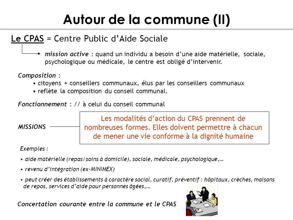 Autour de la commune (II) Le CPAS = Centre Public dAide Sociale mission active : quand un individu a besoin dune aide matérielle, sociale, psychologiq