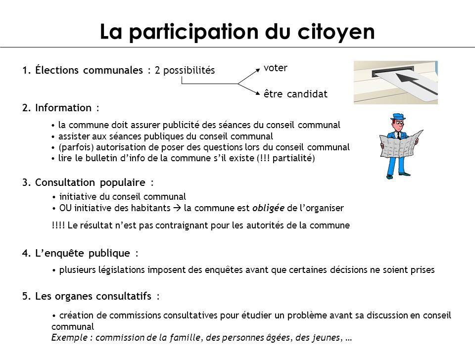 La participation du citoyen 1. Élections communales : 2 possibilités voter être candidat 2. Information : la commune doit assurer publicité des séance