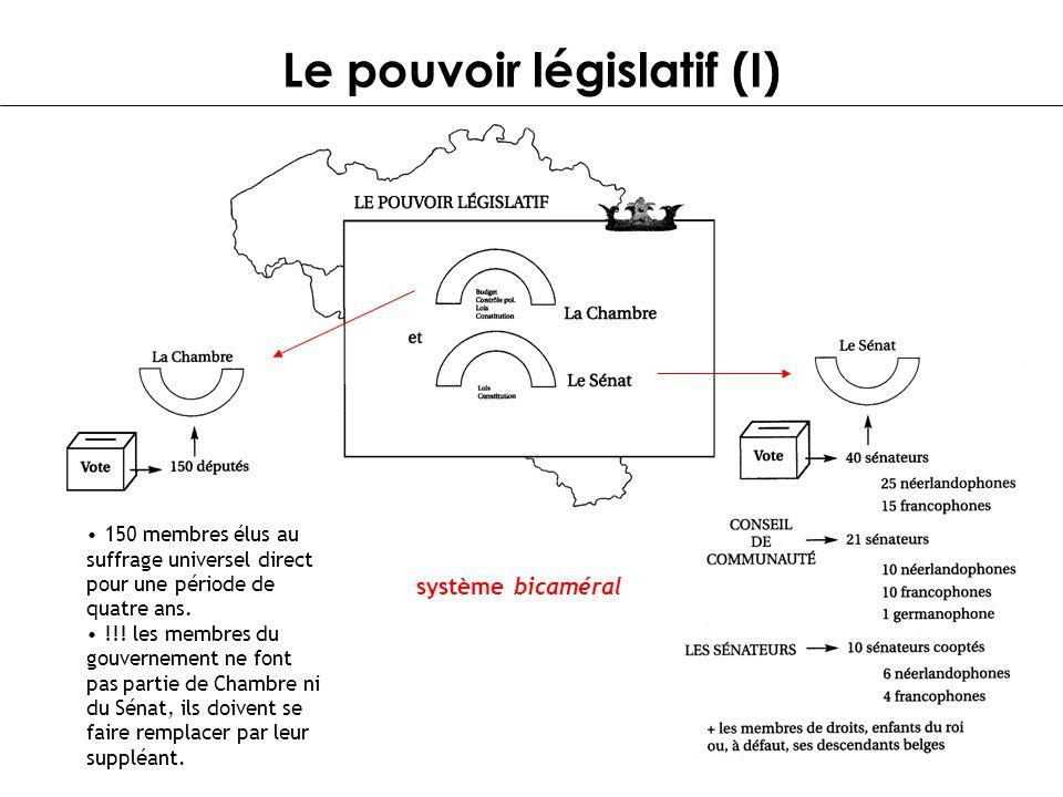 Le pouvoir législatif (I) système bicaméral 150 membres élus au suffrage universel direct pour une période de quatre ans. !!! les membres du gouvernem