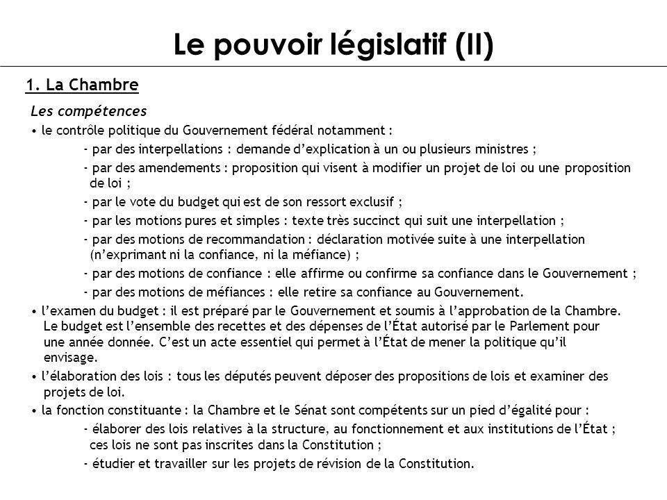Le pouvoir législatif (II) 1. La Chambre Les compétences le contrôle politique du Gouvernement fédéral notamment : - par des interpellations : demande