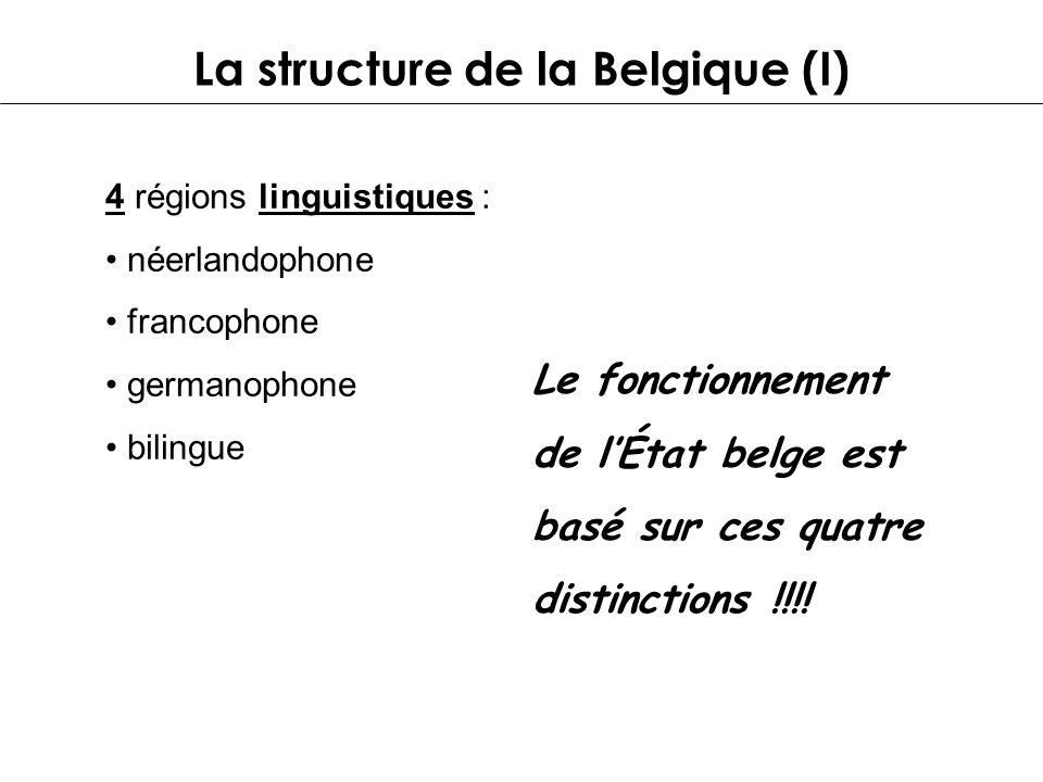 La structure de la Belgique (I) 4 régions linguistiques : néerlandophone francophone germanophone bilingue Le fonctionnement de lÉtat belge est basé s
