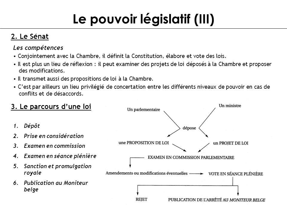 Le pouvoir législatif (III) 2. Le Sénat Les compétences Conjointement avec la Chambre, il définit la Constitution, élabore et vote des lois. Il est pl