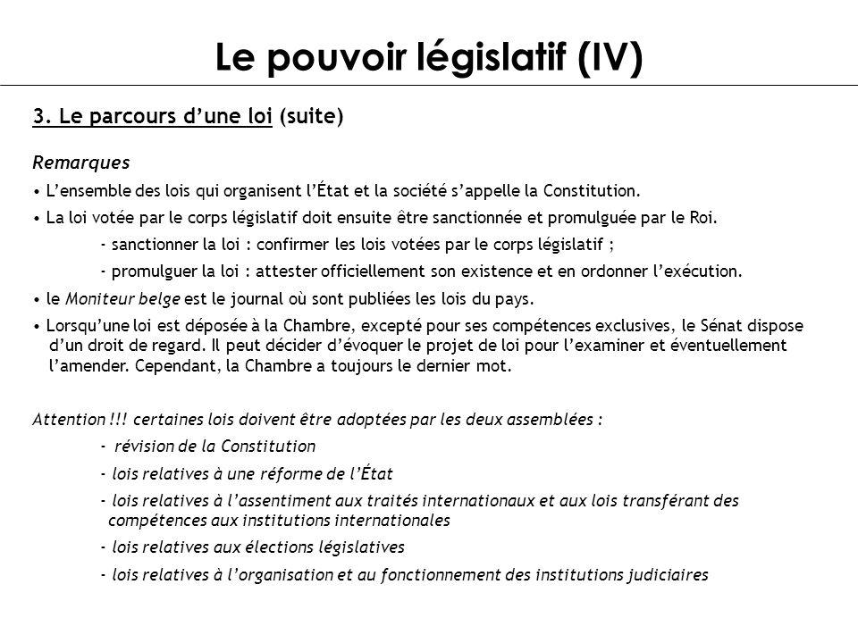 Le pouvoir législatif (IV) Remarques Lensemble des lois qui organisent lÉtat et la société sappelle la Constitution. La loi votée par le corps législa
