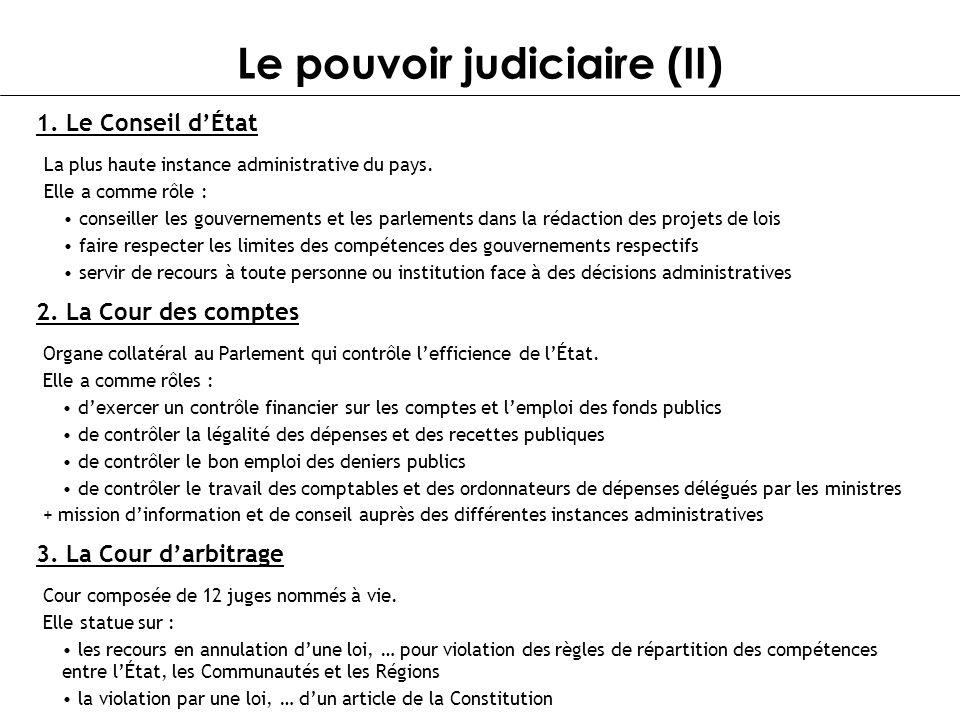 Le pouvoir judiciaire (II) 1. Le Conseil dÉtat La plus haute instance administrative du pays. Elle a comme rôle : conseiller les gouvernements et les