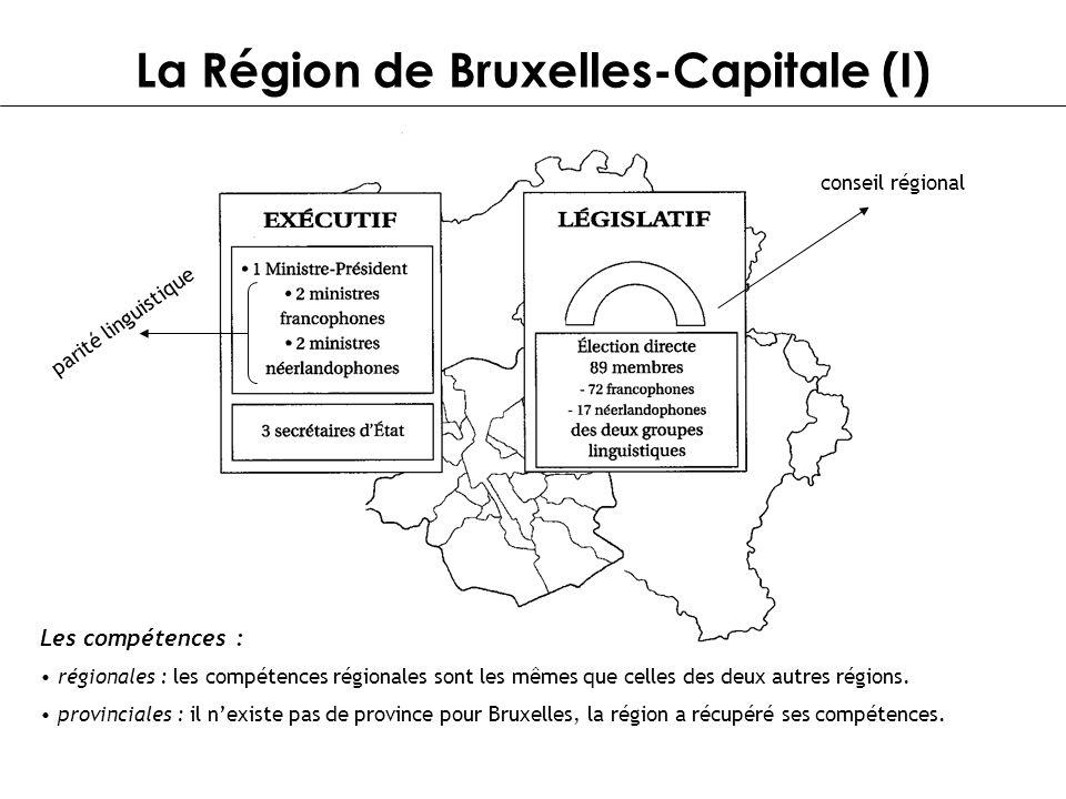 La Région de Bruxelles-Capitale (I) parité linguistique conseil régional Les compétences : régionales : les compétences régionales sont les mêmes que