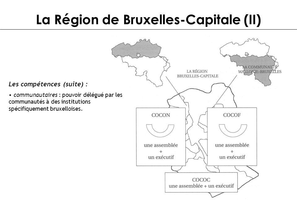 La Région de Bruxelles-Capitale (II) Les compétences (suite) : communautaires : pouvoir délégué par les communautés à des institutions spécifiquement