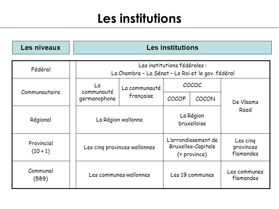 Les institutions Les niveauxLes institutions Fédéral Les institutions fédérales : La Chambre – Le Sénat – Le Roi et le gov. fédéral Communautaire La c