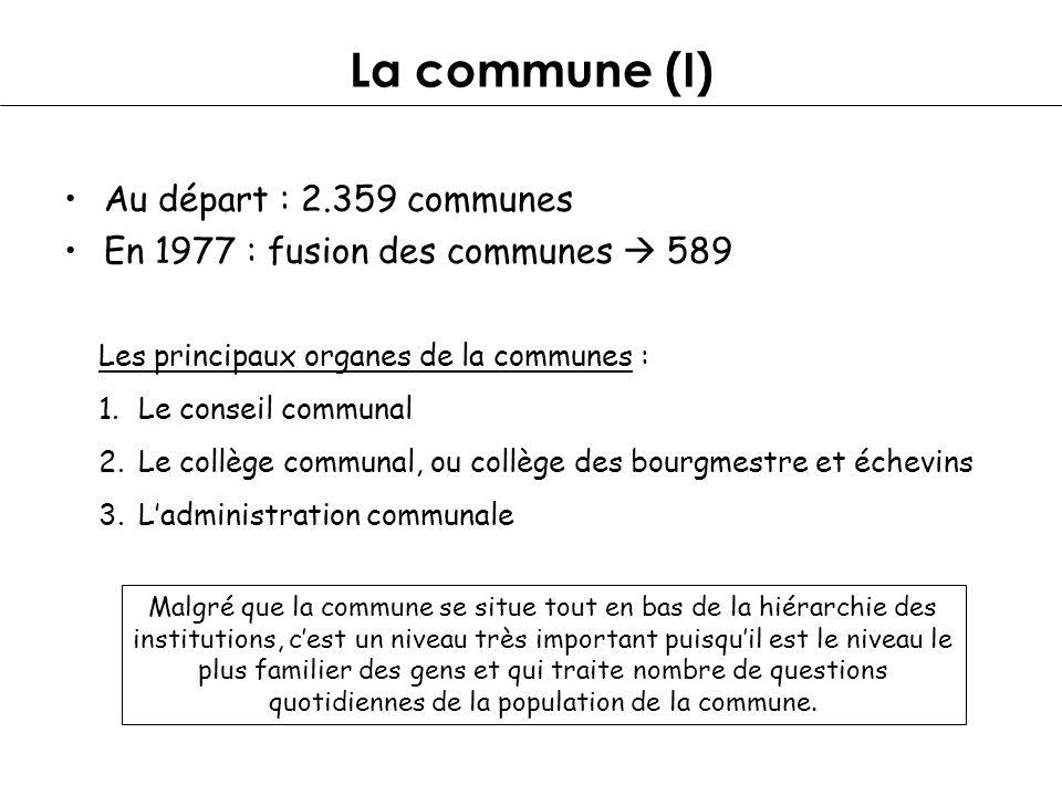 La commune (I) Au départ : 2.359 communes En 1977 : fusion des communes 589 Les principaux organes de la communes : 1.Le conseil communal 2.Le collège