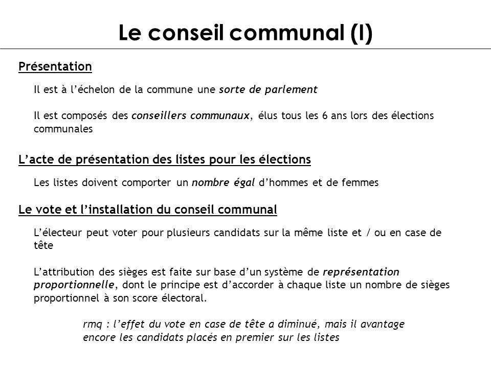 Le conseil communal (I) Les listes doivent comporter un nombre égal dhommes et de femmes Lacte de présentation des listes pour les élections Il est à