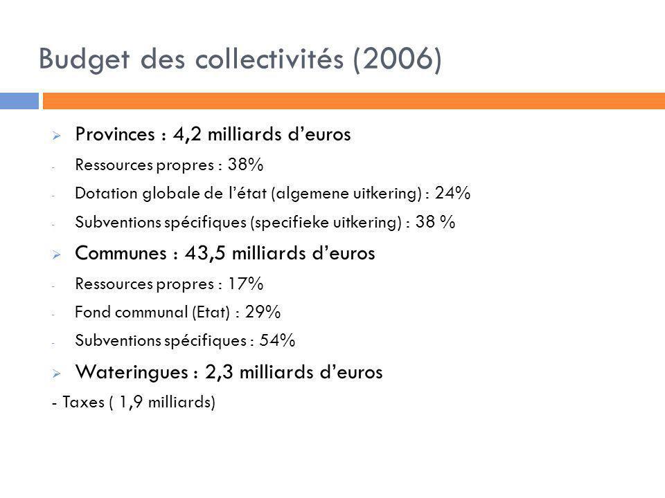 Budget des collectivités (2006) Provinces : 4,2 milliards deuros - Ressources propres : 38% - Dotation globale de létat (algemene uitkering) : 24% - S