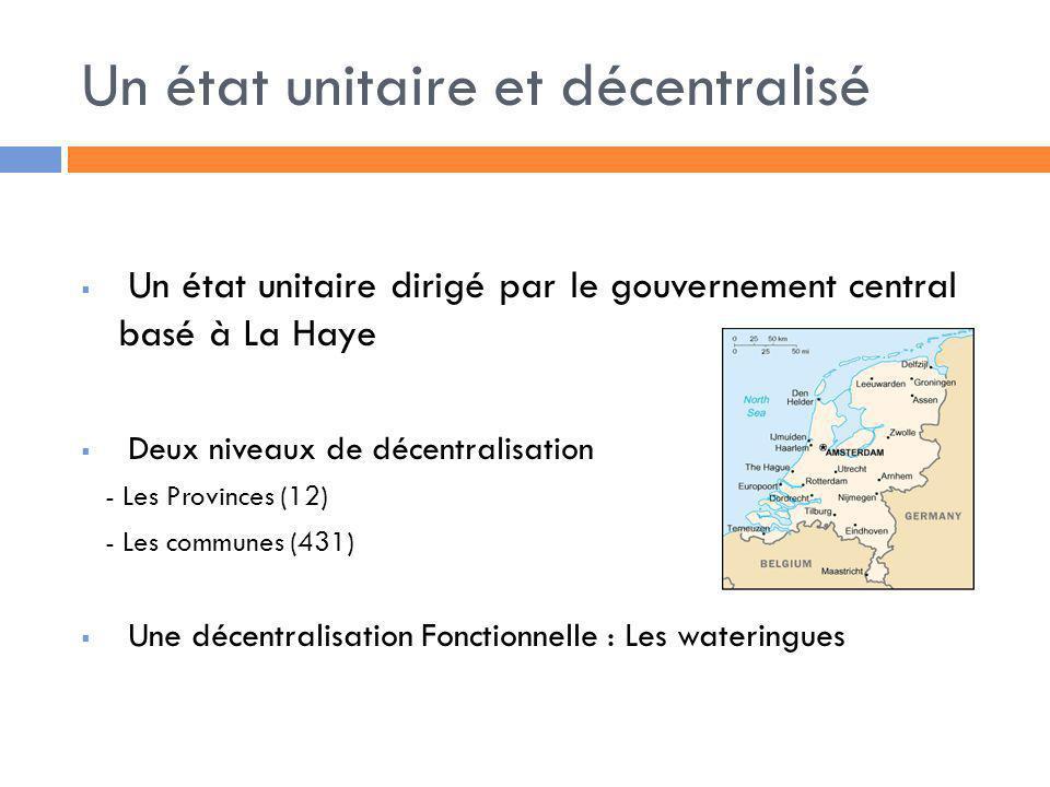 Un état unitaire et décentralisé Un état unitaire dirigé par le gouvernement central basé à La Haye Deux niveaux de décentralisation - Les Provinces (