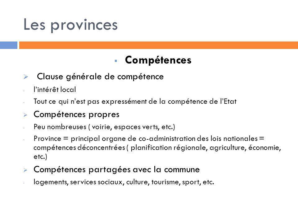 Les provinces Compétences Clause générale de compétence - lintérêt local - Tout ce qui nest pas expressément de la compétence de lEtat Compétences pro