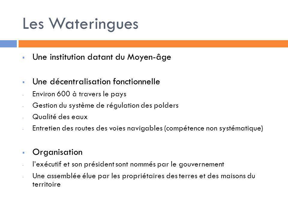 Les Wateringues Une institution datant du Moyen-âge Une décentralisation fonctionnelle - Environ 600 à travers le pays - Gestion du système de régulat