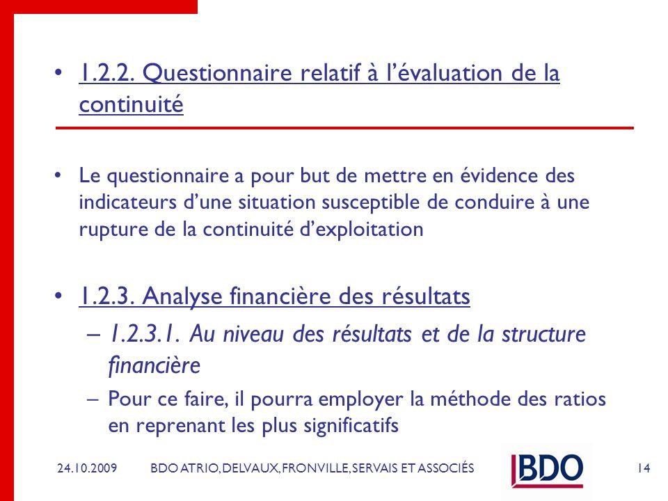 BDO ATRIO, DELVAUX, FRONVILLE, SERVAIS ET ASSOCIÉS 1.2.2. Questionnaire relatif à lévaluation de la continuité Le questionnaire a pour but de mettre e