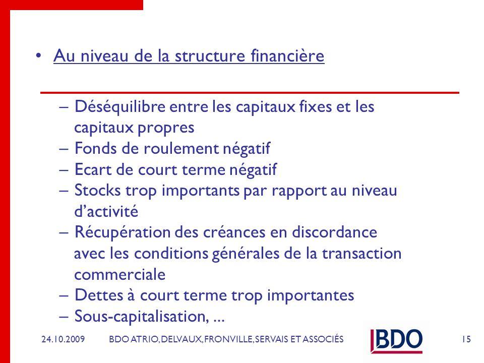 BDO ATRIO, DELVAUX, FRONVILLE, SERVAIS ET ASSOCIÉS Au niveau de la structure financière –Déséquilibre entre les capitaux fixes et les capitaux propres